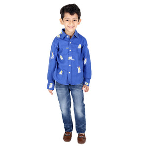Blue Flannel Shirt with Snow Bear Print
