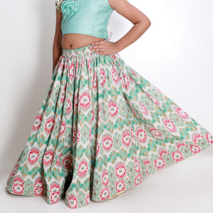 Ikat Lehenga with Aqua Blue Top
