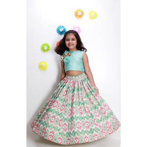 ---SOLD OUT---Ikat Lehenga with Aqua Blue Top