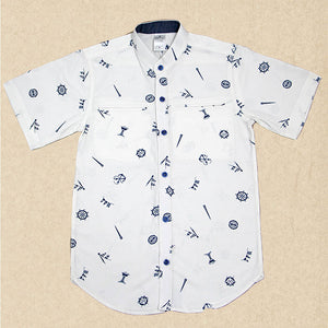 White Shirt with Blue Sailor Wheel
