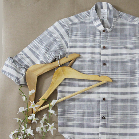 White and Grey Striped Shirt with Wooden Buttons