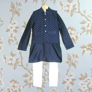 Blue Jacket Kurta Set