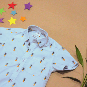 Ice Blue Short Sleeved Shirt with Pineapple Print