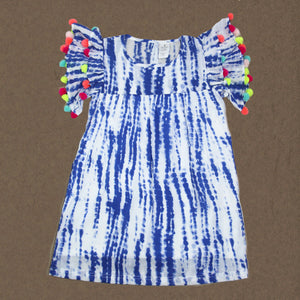 --- SOLD OUT---- Tie and Dye Pom Pom Dress