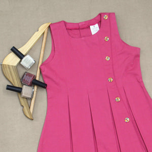 Pink Dress with Colourful Button