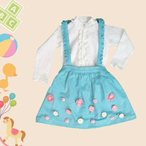 ---SOLD OUT--- Aqua Blue Dungaree Skirt with Flowers
