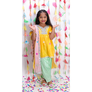 Yellow Chanderi Dip Kurta