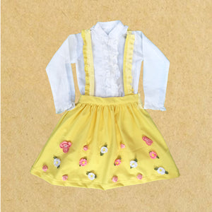 Yellow Dungaree Skirt with Flowers