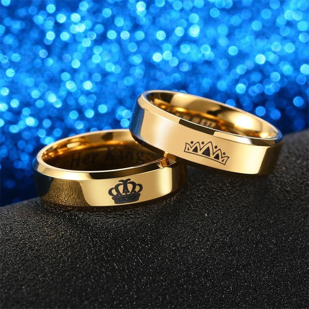 Her King His Queen Couple Rings Gold Crown Rings - Activarebel.com