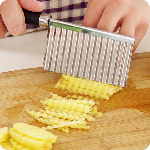 French Fry Potato Stainless Steel Serrated Blade Slicing Wave Knife - Market Hoop
