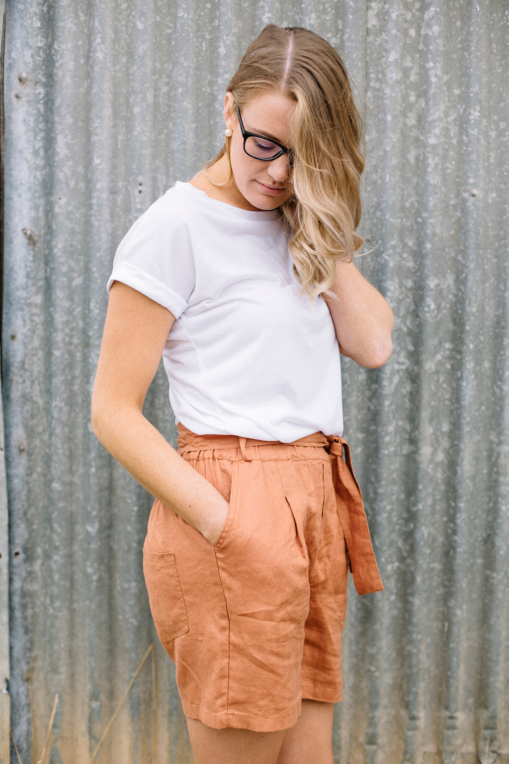 Rust Belted Shorts