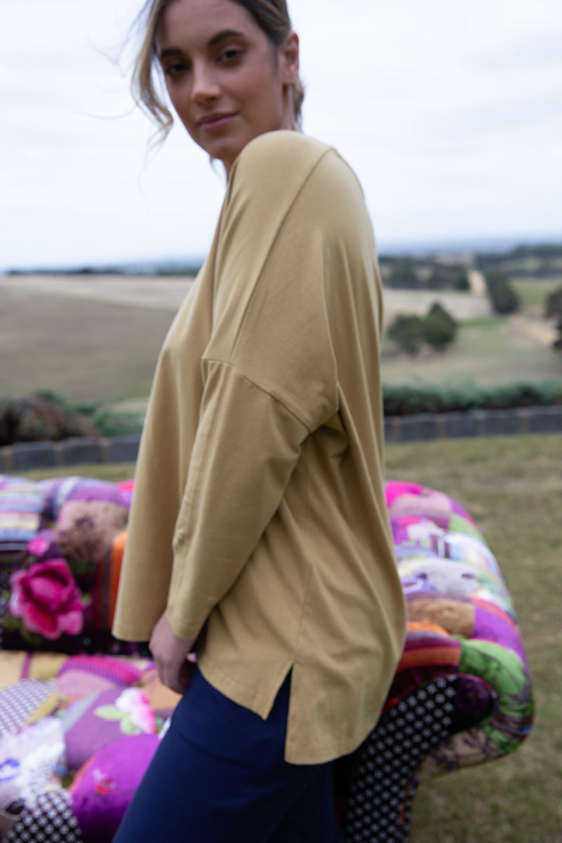 L/S Side Split Top Mustard