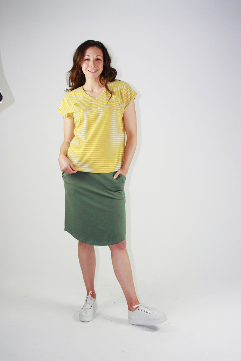 Slouch Tee Mustard Stripes
