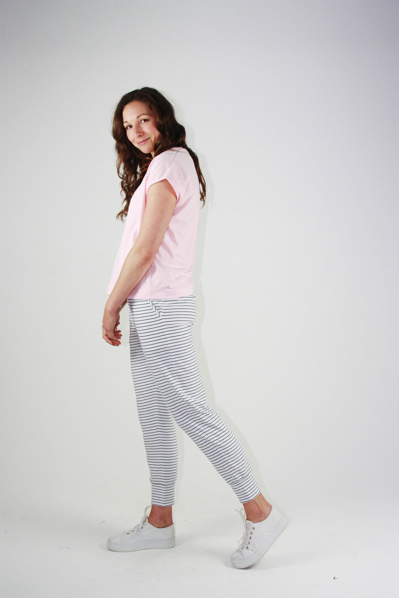 Everyday Pant White/Navy Stripes
