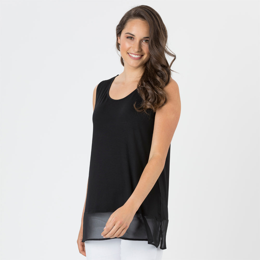 Threadz Georgette Hem Tank - Black