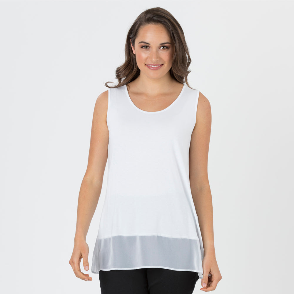 Threadz Georgette Hem Tank - White