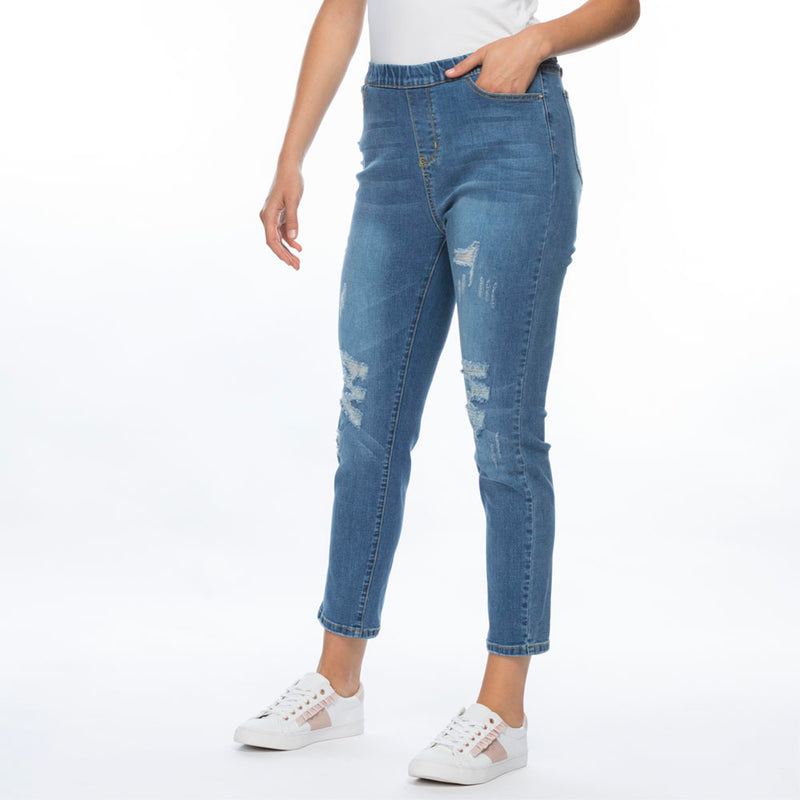 Threadz Pull On Ripped Jeans