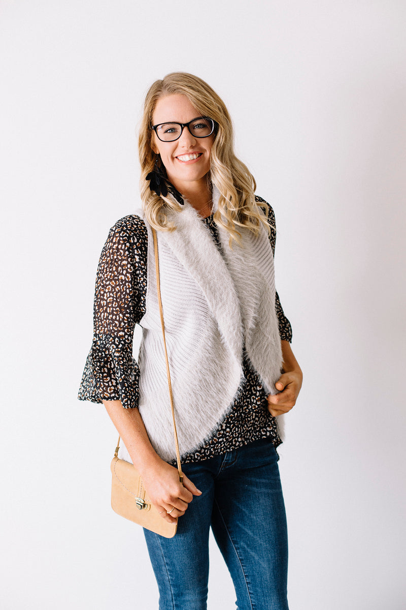 Faux Fur Knit Vest Natural