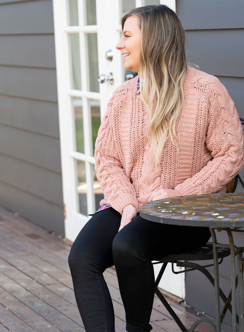 Nora Cable Knit - Salmon