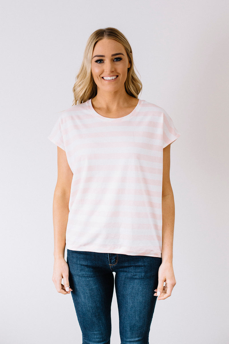 Shell Tee - pink stripe