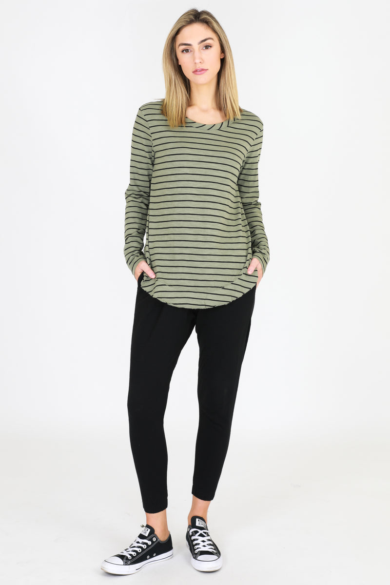 Mosman L/S Tee - green/stripes