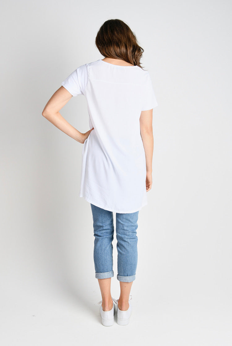 Drop Back Tee White