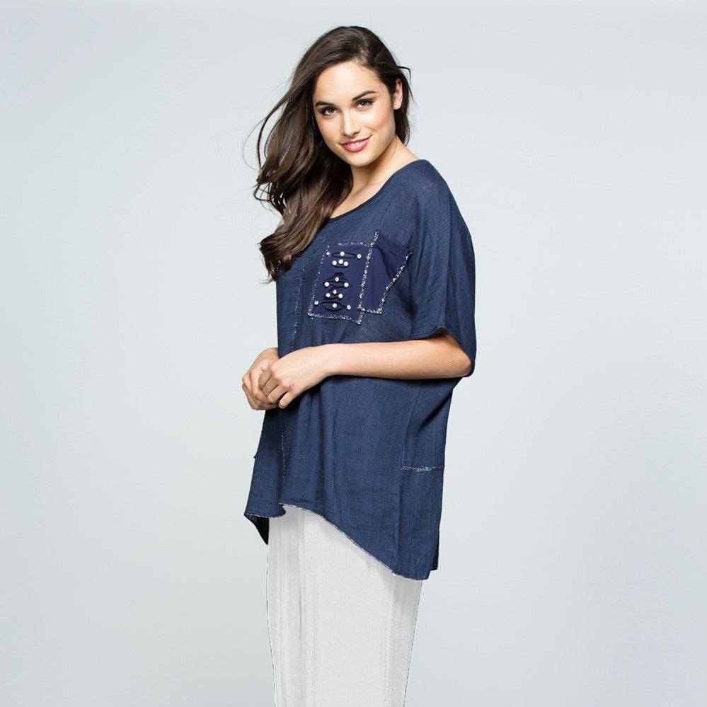 Threadz Squares Top - Denim