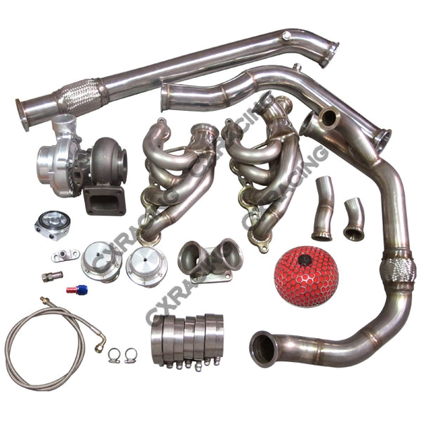CXRacing - T76 Single Turbo Manifold Downpipe 240SX S13 S14 LS1 LSx Engine Swap (TRB-KIT-LS-S13-T76-NO-IC)