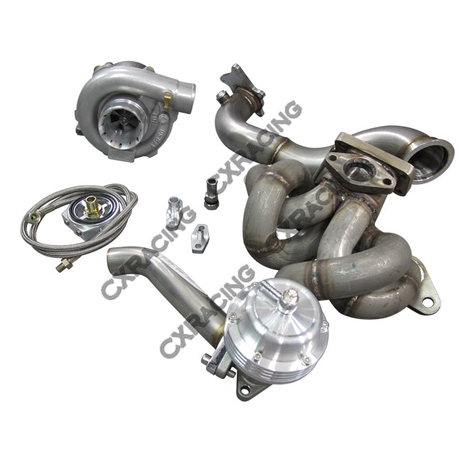 CXRacing - T3 T04E TURBO MANIFOLD DOWNPIPE FOR COROLLA AE86 WITH 4AGE ENGINE (TRB-KIT-4AGE-T3-NO-IC)