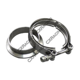 "CXRacing - 2.0"" V-BAND CLAMP + 2.0"" I.D. FLANGE , 304 STAINLESS STEEL , CNC BILLET FLANGE  (TRB-VBAND200-SS_1-1)"