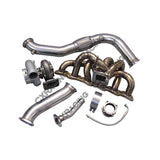 CXRacing - Single GT35 Turbo Kit + Manifold Downpipe For 240SX S13 S14 RB20 RB25 450HP (TRB-KIT-RB25-S13-TOP-GT35-AI-IC)