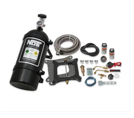 Nitrous Oxide System - NOS Super Powershot Wet Nitrous System Holley 4150 Square Bore and Edelbrock Carburetors [10 lb. Black Bottle] (05101BNOS)