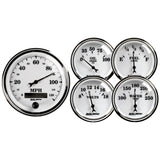 "AutoMeter - 5 PC. GAUGE KIT, 3-3/8"" & 2-1/16"", ELECTRIC SPEEDOMETER, OLD TYME WHITE II (1200)"