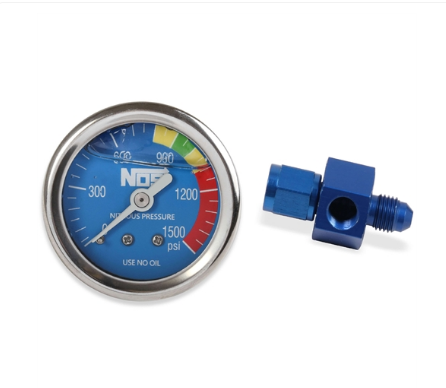 Nitrous Oxide System - NOS Nitrous Pressure Gauge Blue Face Includes -4 AN Adapter Fitting (15936NOS)