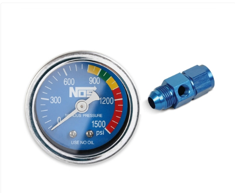 Nitrous Oxide System - NOS Nitrous Pressure Gauge Blue Face Includes -8 AN Adapter Fitting (15948NOS)