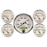 "AutoMeter - 5 PC. GAUGE KIT, 3-1/8"" & 2-1/16"", ELECTRIC SPEEDOMETER, KM/H, OLD TYME WHITE (1602-M)"