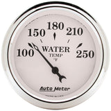 "AutoMeter - 2-1/16"" WATER TEMPERATURE, 100-250 °F, AIR-CORE, OLD-TYME WHITE (1638)"