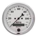 "AutoMeter - 3-3/8"" SPEEDOMETER, 0-120 MPH, ELECTRIC, OLD-TYME WHITE (1680)"