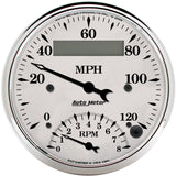 "AutoMeter - 3-3/8"" TACHOMETER/SPEEDOMETER COMBO, 8K RPM/120 MPH, ELECTRIC, OLD-TYME WHITE (1681)"