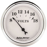 "AutoMeter - 2-1/16"" VOLTMETER, 8-18V, AIR-CORE, OLD-TYME WHITE (1692)"