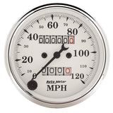 "AutoMeter -3-1/8"" SPEEDOMETER, 0-120 MPH, MECHANICAL, OLD-TYME WHITE (1693)"
