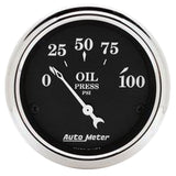 "AutoMeter - 2-1/16"" OIL PRESSURE, 0-100 PSI, AIR-CORE, OLD TYME BLACK (1727)"