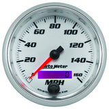 "AutoMeter - 3-3/8"" SPEEDOMETER, 0-160 MPH, ELECTRIC, WHITE, PRO-CYCLE (19789)"