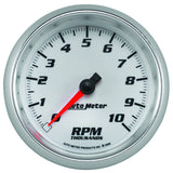 "AutoMeter - 3-3/8"" TACHOMETER, 0-10,000 RPM, WHITE/BRIGHT ANODIZED, PRO-CYCLE (19798)"