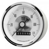 "AutoMeter - 3-3/8"" SPEEDOMETER, 0-120 MPH, ELECTRIC, W/ WHEEL ODO, PRESTIGE PEARL (2085)"