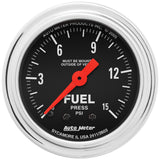 "AutoMeter - 2-1/16"" FUEL PRESSURE, 0-15 PSI, MECHANICAL, TRADITIONAL CHROME (2411)"
