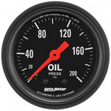 "AutoMeter - 2-1/16"" OIL PRESSURE, 0-200 PSI, MECHANICAL, Z-SERIES (2605)"
