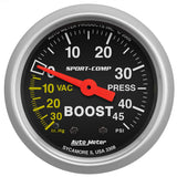 "Auto Meter - 2-1/16"" BOOST/VACUUM, 30 IN HG/45 PSI, MECHANICAL, SPORT-COMP (3308)"