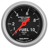 "Auto Meter - 2-1/16"" FUEL PRESSURE, 0-1.0 BAR, MECHANICAL, SPORT-COMP (3311-M)"
