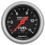 "Auto Meter - 2-1/16"" FUEL PRESSURE, 0-15 PSI, MECHANICAL, SPORT-COMP (3311)"